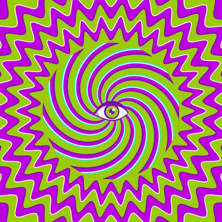 ojos verdes: Color hypnotic retro poster with eye