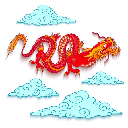 speculative: Vector illustration of a red dragon cut out of paper