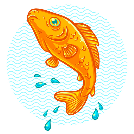 Vector illustration of a golden fish jumping out of water 일러스트