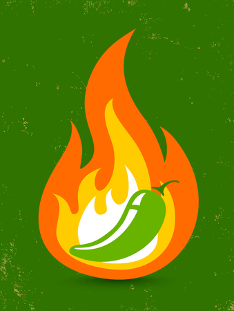 flames background: Vintage vector illustration of a hot jalapeno pepper in fire