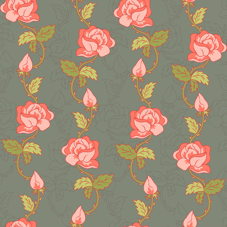 green leafs: Vector pattern with pink roses and green leafs