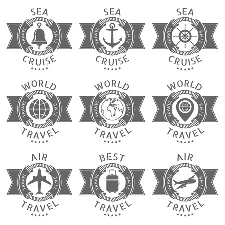 cruise travel: Vector set logos for a travel and cruise