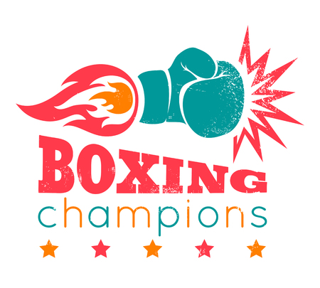 boxing gloves: Vintage logo for a boxing on grunge background