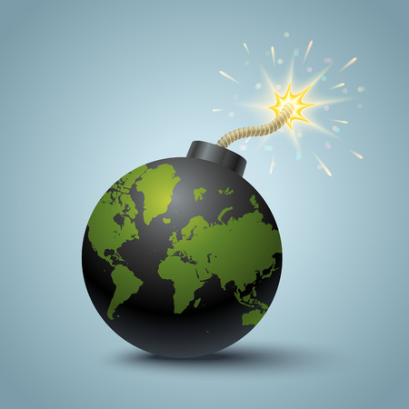 detonation: Vector illustration of a bomb with World map.