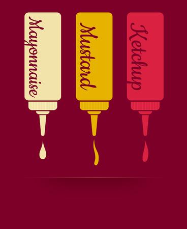 mayonesa: ilustración vectorial de la vendimia de tres salsas. La salsa de tomate, mayonesa y mostaza
