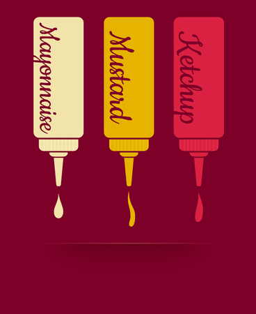 fat dog: Vintage vector illustration of three sauces. Ketchup, mayonnaise and mustard Illustration