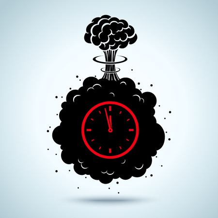 detonation: Vector illustration of a bomb with a timer