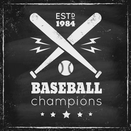 base ball: Vintage logo for baseball on black chalkboard Illustration