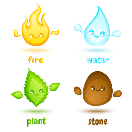 four elements: Vector set icons four elements in kawaii style