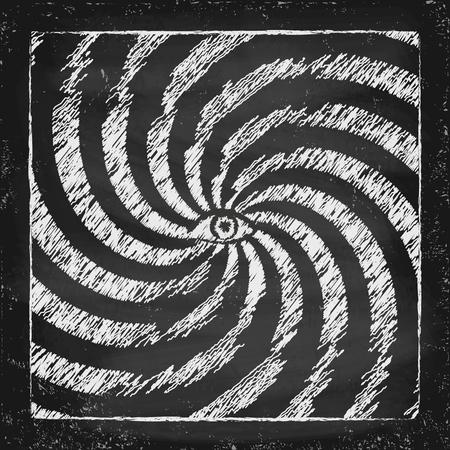 hypnotist: Vintage hypnotic poster with eye on chalkboard