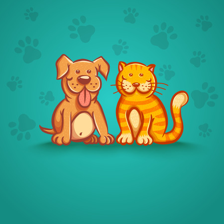pampered: Vector illustration of a cat and dog