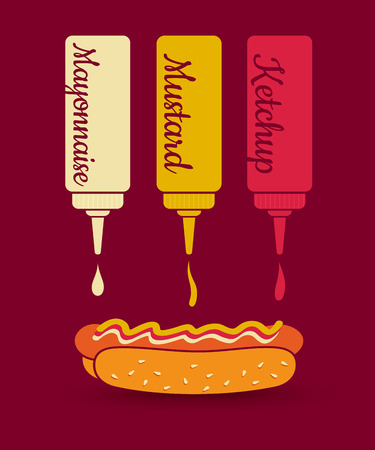 mustard: Vintage vector illustration of a hot dog and sauces. Ketchup, mayonnaise and mustard. Fast food.
