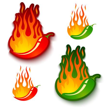 is hot: Conjunto de vectores ilustraciones de un jalape�o caliente y chiles en el fuego Vectores