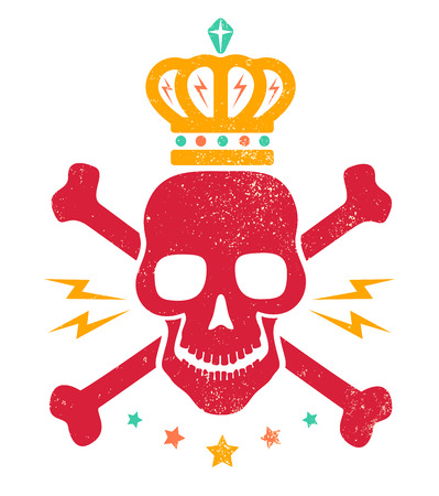 skull with crown: Vintage logo with red skull and golden crown