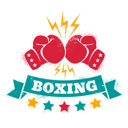 cartoon hands: Vintage logo for a boxing on grunge background