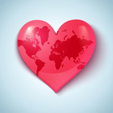 ハートの形の地球とのベクトルのロゴ