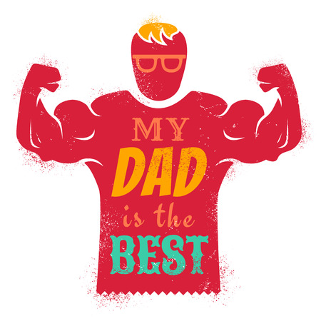 best dad: Vintage greeting card for father day with best dad Illustration