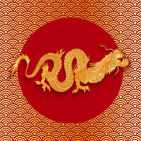japan pattern: Vector illustration of a dragon on golden background