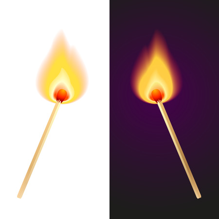 matches: vector illustration of two matches in fire
