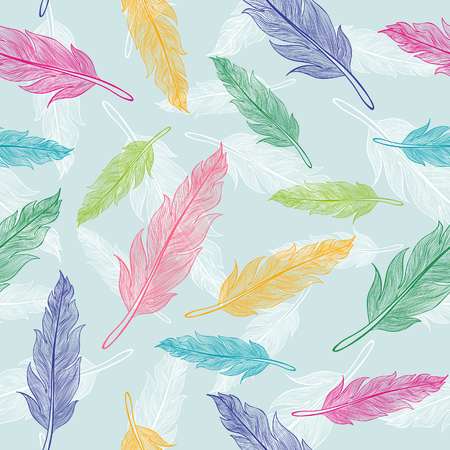 lightweight ornaments: Vintage vector seamless colorful feathers pattern