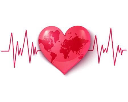 Vector logo con la Terra sotto forma di cuore