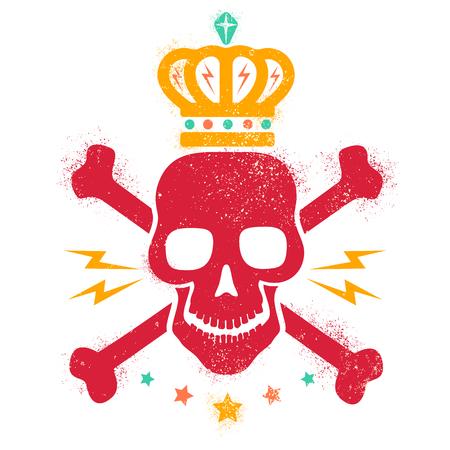 skull logo: Vintage logo with red skull and golden crown