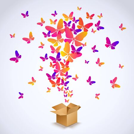 surprise box: Open cardboard box with colorful butterflies flying