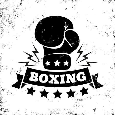 guantes: Vector de la insignia de la vendimia para el boxeo con guantes Vectores