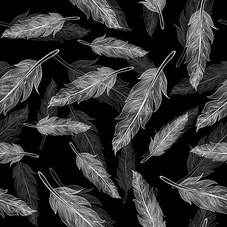 lightweight ornaments: Vintage vector seamless feathers pattern Illustration