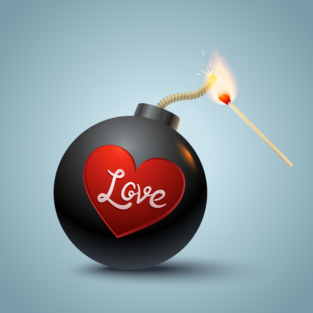 love dynamite: Vector illustration of a bomb with heart and match in fire