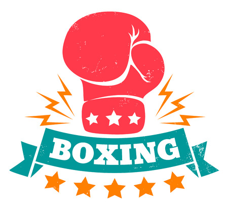 paper punch: Vintage vector icon for boxing with glove