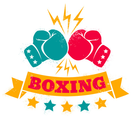 paper punch: Vintage icon for a boxing on grunge background