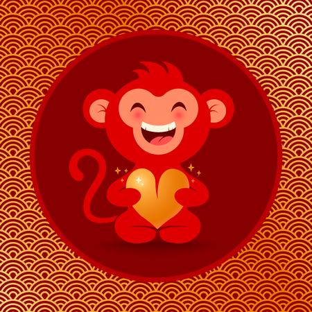 chinese style: Vector illustration of a monkey with golden heart Illustration