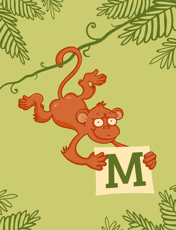 liana: Monkey on liana with letter M