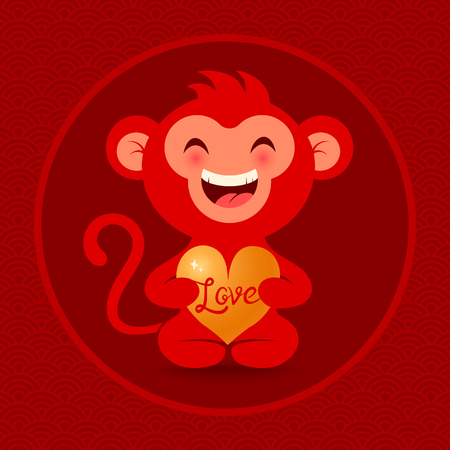 passion fruit: Vector illustration of a monkey with golden heart Illustration