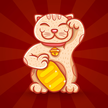 maneki: Vector illustration of traditional asian lucky cat. Neko