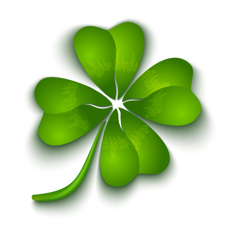 cartoon flower: Clover with four leaves for Patricks day
