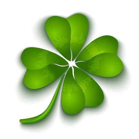 flor caricatura: Trébol de cuatro hojas para el día de Patrick Vectores