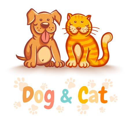 Vector illustration of a cat and dog for pets shop