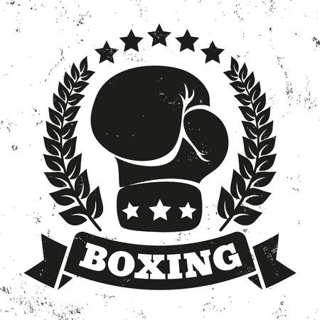icono de la vendimia por un combate de boxeo en el fondo del grunge
