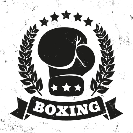 knockout: Vintage icon for a boxing on grunge background