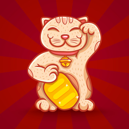 fortune cat: Vector retro poster with lucky cat Illustration