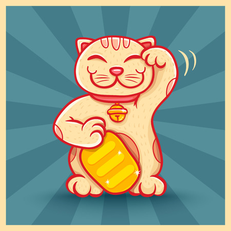 maneki: Vector retro poster with lucky cat Illustration