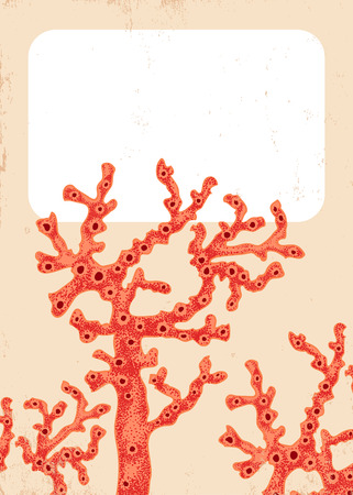 polyp: Vector vintage poster with red corals Illustration