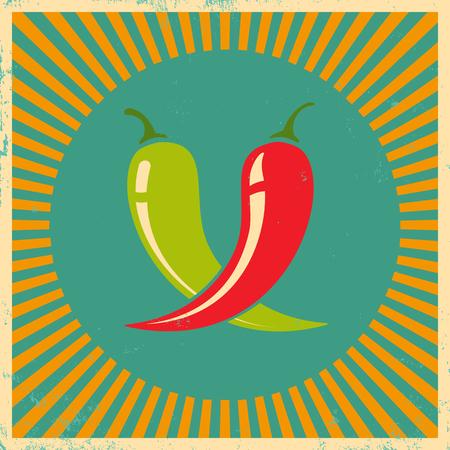 Vector vintage poster met twee chili pepers
