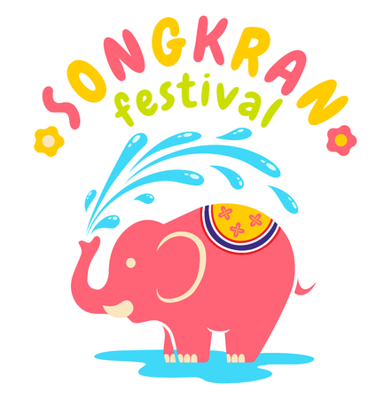 Vector logo for Songkran festival in Thailand with elephant