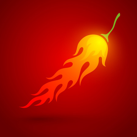 chili pepper: illustration of a chili pepper in fire