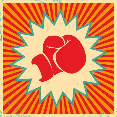 glove: Vintage poster for boxing Illustration