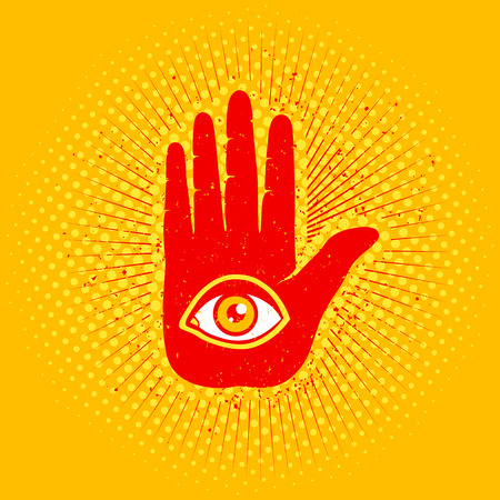 cryptic: Vintage poster with hand and eye