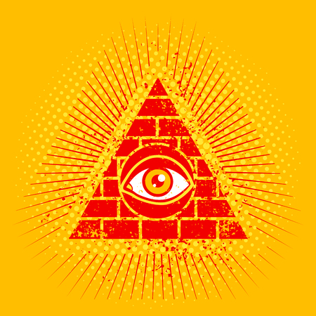 stone mason: Vintage poster with pyramid and eye